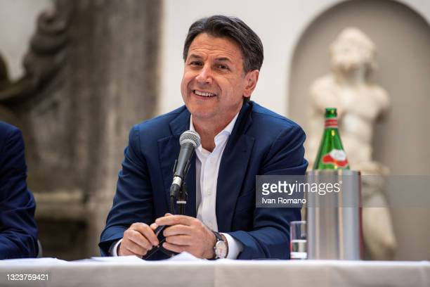 Giuseppe Conte attends the press conference on June 15, 2021 in Naples, Italy. The political head of the 5 Star Movement and former Prime Minister...