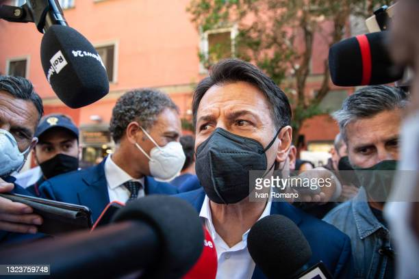 Giuseppe Conte interviewed by journalists on June 15, 2021 in Naples, Italy. The political head of the 5 Star Movement and former Prime Minister...