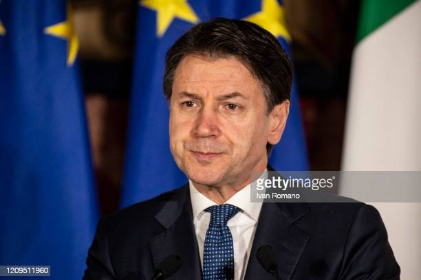 Giuseppe Conte Italian President of the Council of Ministers during the press conference on February 27 2020 in Naples Italy The XXXV ItalianFrench...