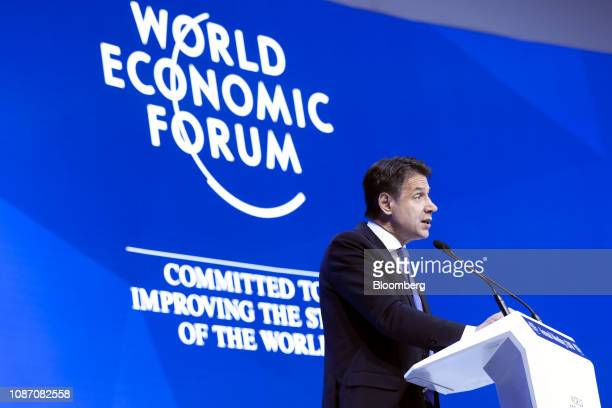 Giuseppe Conte Italy's prime minister delivers a speech during a special address on day two of the World Economic Forum in Davos Switzerland on...
