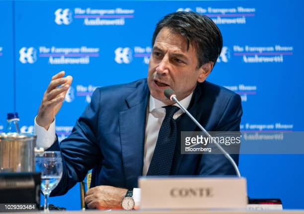Giuseppe Conte Italy's prime minister speaks at the Ambrosetti Forum in Cernobbio Italy on Saturday Sept 8 2018 The European HouseAmbrosetti hosts...