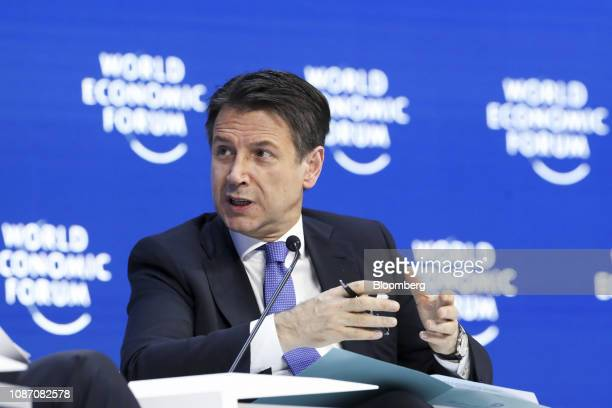 Giuseppe Conte Italy's prime minister speaks during a special address on day two of the World Economic Forum in Davos Switzerland on Wednesday Jan 23...