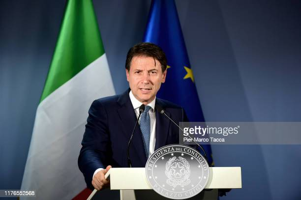 Giuseppe Conte, Prime Minister of Italy speaks during the press conference at the European Council Meeting on October 18, 2019 in Brussels, Belgium....