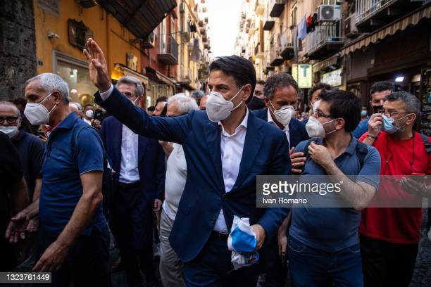 Giuseppe Conte visits the Pignasecca market on June 15, 2021 in Naples, Italy. The political head of the 5 Star Movement and former Prime Minister...
