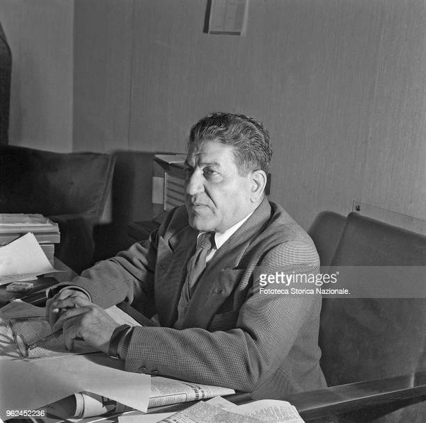 Giuseppe Di Vittorio portrait at his desk Activist in the Socialist Party until 1924 then joined the Communist Party He was general secretary of the...