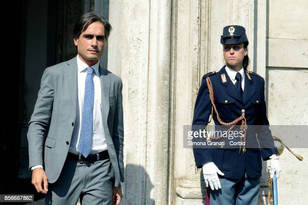 Giuseppe Falcomatà Mayor of Reggio Calabria leaves Palazzo Chigi after the meeting with the President of the Council of Ministers on October 2 2017...