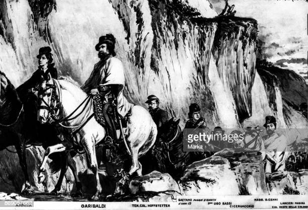Giuseppe Garibaldi Anita and His Troop Hunted By The French and The Austrians Head To San Marino Through The Appennines 1849