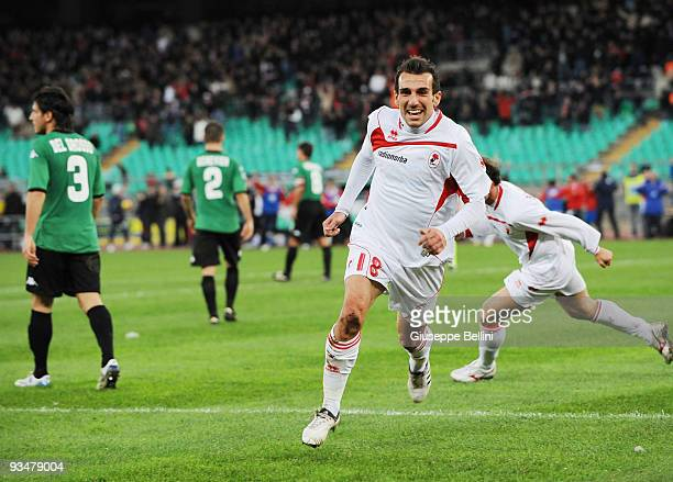Giuseppe Greco of AS Bari celebrates after scoring their second goal during the Serie A match between AS Bari and AC Siena at Stadio San Nicola on...
