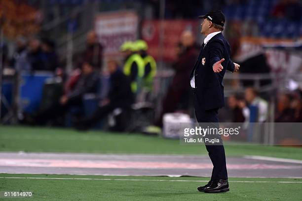 Giuseppe Iachini head coach of Palermo shows his dejection during the Serie A match between AS Roma and US Citta di Palermo at Stadio Olimpico on...