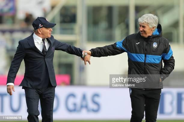 Giuseppe Iachini manager of AFC Fiorentina and Gianpiero Gasperini manager of Atalanta BC hold their hands at Stadio Artemio Franchi on January 15,...