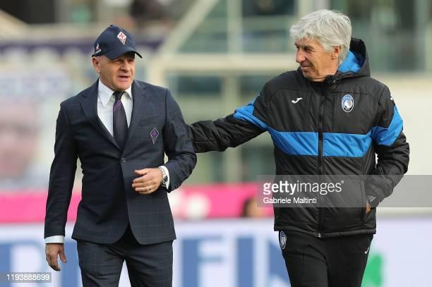 Giuseppe Iachini manager of AFC Fiorentina and Gianpiero Gasperini manager of Atalanta BC walk at Stadio Artemio Franchi on January 15 2020 in...