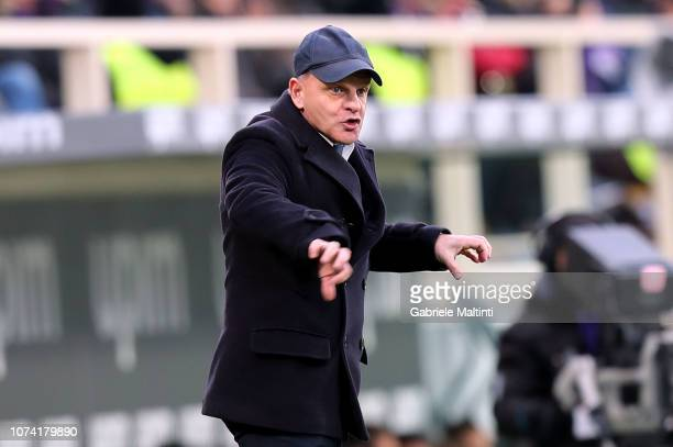 Giuseppe Iachini manager of Empoli FC gestures during the Serie A match between ACF Fiorentina and Empoli at Stadio Artemio Franchi on December 16...