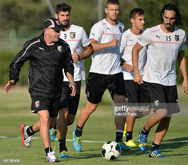 Giuseppe Iachini new coach of Palermo in action during a Palermo training session at Tenente Carmelo Onorato Sports Center on September 25 2013 in...