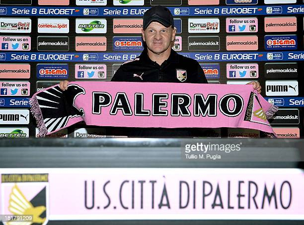 Giuseppe Iachini poses during his presentation as new coach of Palermo at Tenente Carmelo Onorato Sports Center on September 25 2013 in Palermo Italy
