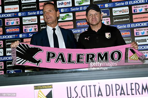 Giuseppe Iachini poses with VicePresident Guglielmo Micciche during his presentation as new coach of Palermo at Tenente Carmelo Onorato Sports Center...