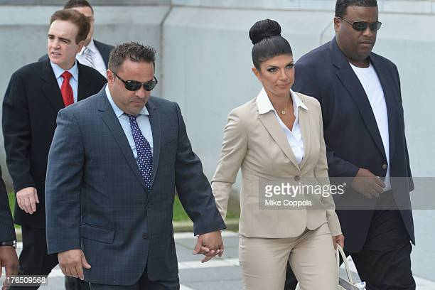 Giuseppe 'Joe' Giudice and wife Teresa Giudice appear in court to face charges of defrauding lenders illegally obtaining mortgages and other loans as...