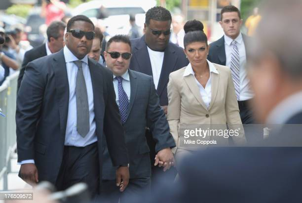 Giuseppe Joe Giudice and wife Teresa Giudice appear in court to face charges of defrauding lenders illegally obtaining mortgages and other loans as...
