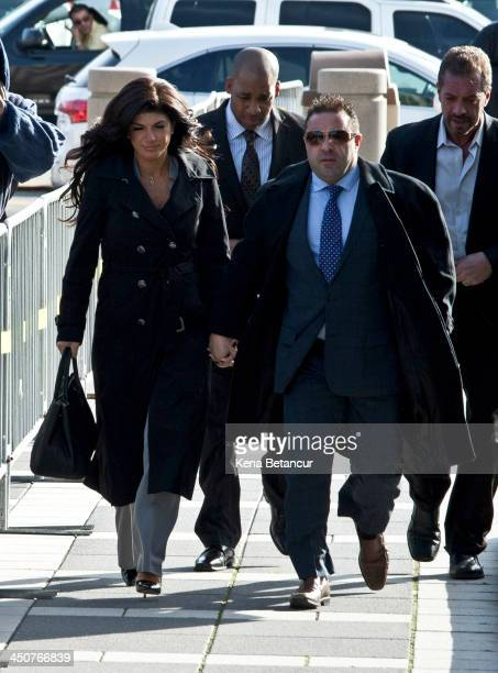 Giuseppe 'Joe' Giudice and wife Teresa Giudice arrive to Newark federal court on November 20 2013 in Newark New Jersey The two of the stars of the...