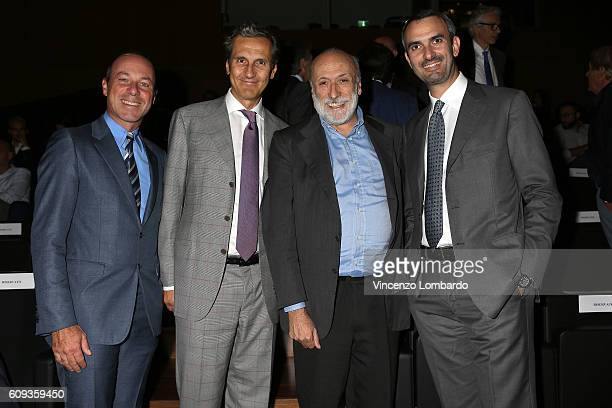 Giuseppe Lavazza Antonio Baravalle Carlo Petrini and Marco Lavazza attend the 2017 Lavazza Calendar Presentation on September 20 2016 in Milan Italy