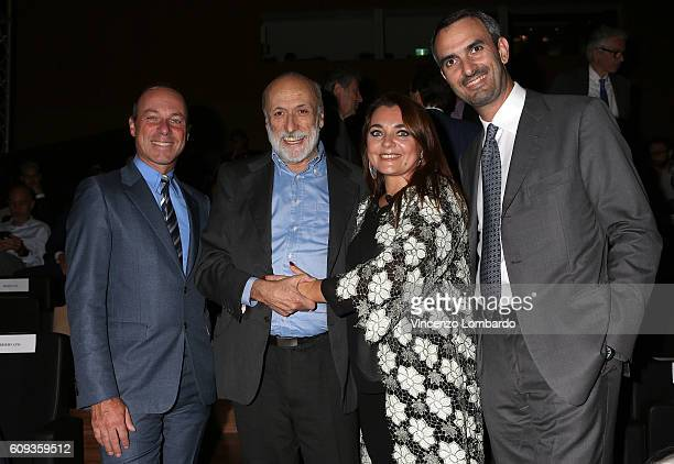 Giuseppe Lavazza Carlo Petrini Francesca Lavazza and Marco Lavazza attend the 2017 Lavazza Calendar Presentation on September 20 2016 in Milan Italy