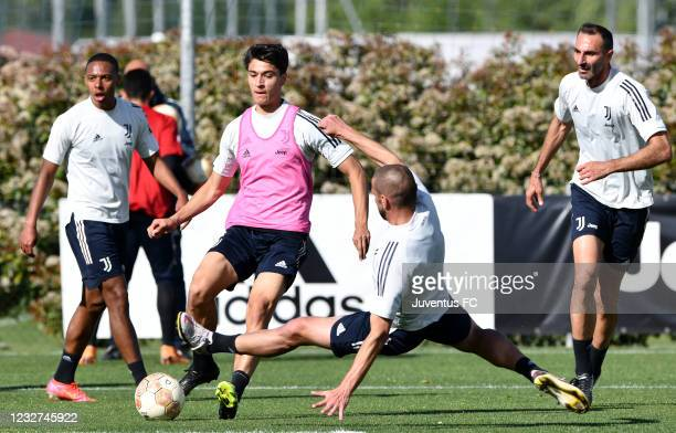 Giuseppe Leone of Juventus U23 evades challenge from Andrea Brighenti of Juventus U23 during the Juventus U23 Training Session at Juventus Center...