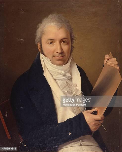"""Giuseppe Longhi's Portrait , by Francesco Emanuele Scotti, 1800-1810, 19th Century, oil on canvas Italy, Lombardy, Milan, Brera Academy. Whole..."