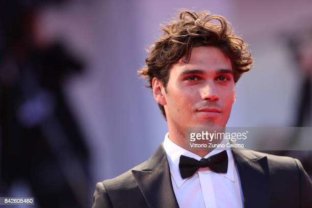 Giuseppe Maggio walks the red carpet ahead of the 'Three Billboards Outside Ebbing Missouri' screening during the 74th Venice Film Festival at Sala...