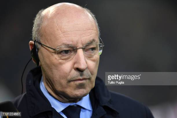 Giuseppe Marotta CEO of Inter during the UEFA Europa League Round of 32 Second Leg match between FC Internazionale and SK Rapid Wien at San Siro on...
