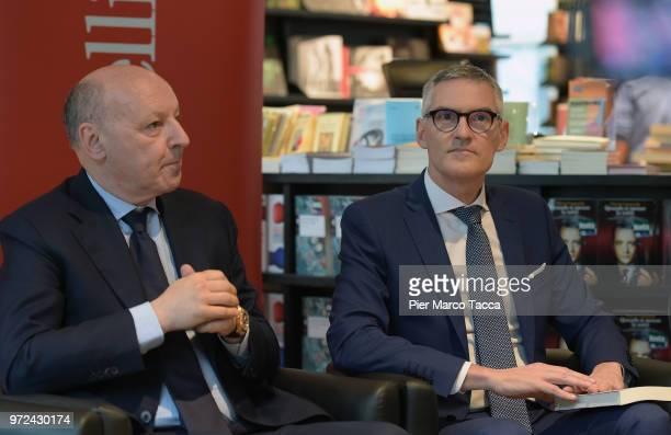 Giuseppe Marotta CEO of Juventus FC and Alessandro Antonello CEO of FC Internazionale attend the 'La Fine del Calcio Italiano' Book Presentation on...