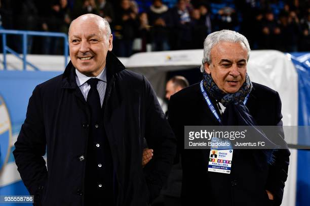 Giuseppe Marotta of Juventus and Walter Mattioli of Spal during the serie A match between Spal and Juventus at Stadio Paolo Mazza on March 17 2018 in...
