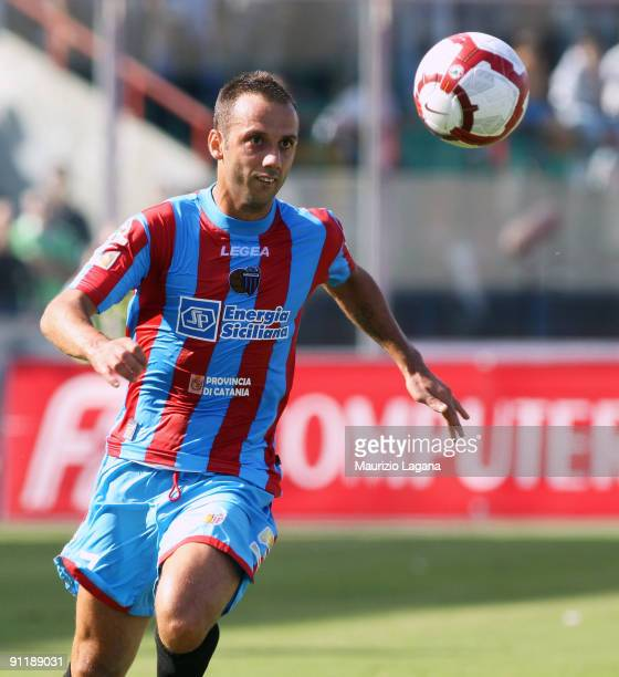 Giuseppe Mascara of Catania Calcio in action during the Serie A match between Catania Calcio and AS Roma at Stadio Angelo Massimino on September 27,...