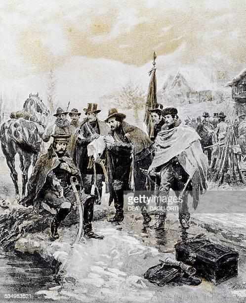 Giuseppe Mazzini meeting General Ramorino February 1 woodcut by Edoardo Matania from Scenes of the Italian Risorgimento Treves 1890 Italy 19th...