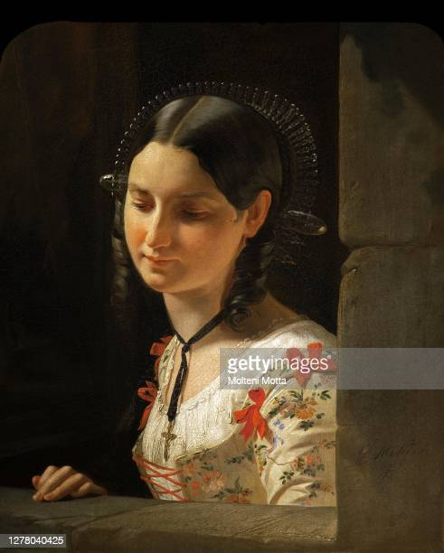 Giuseppe Molteni. 1800-1867. Bust of woman. The Lucia of Promessi Sposi. 1852 oil painting on canvas cm 54.5 x 44.5.