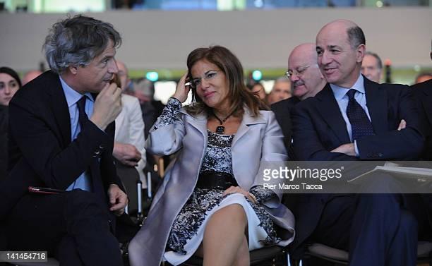 Giuseppe Mussari ABI President Emma Marcegaglia Confindustria President and Corrado Passera Minister of the Development Economic Infrastructures and...
