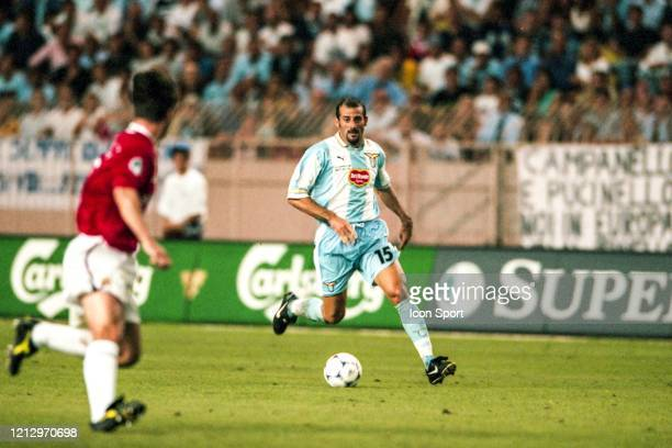 Giuseppe PANCARO of Lazio during the UEFA Super Cup match between Lazio Roma and Manchester United at Louis II Stadium Monaco on 27th August 1999