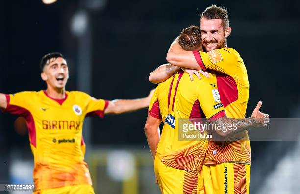 Giuseppe Panico of Cittadella celebrates with his team-mates Alberto Rizzo and Domenico Frare after scoring his second goal during the Serie B match...