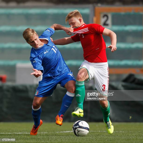 Giuseppe Panico of Italy competes for the ball with Daniel Kertai of Hungary during the international friendly match between Italy U17 and Hungary...