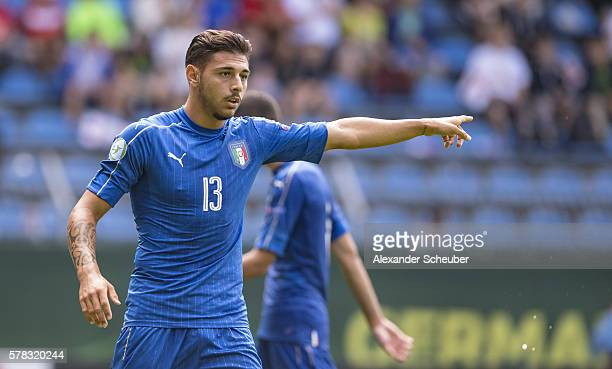 Giuseppe Pezzella of Italy reacts during the U19 Match between England and Italy at CarlBenzStadium on July 21 2016 in Mannheim Germany