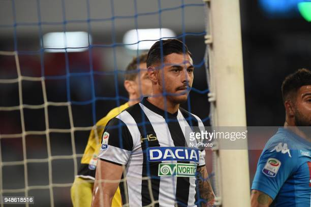 Giuseppe Pezzella of Udinese Calcio during the Serie A TIM match between SSC Napoli and Udinese Calcio at Stadio San Paolo Naples Italy on 18 April...