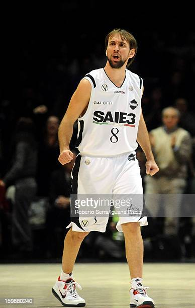 Giuseppe Poeta of SAIE3 celebrates during the LegaBasket Serie A match between Virtus SAIE3 Bologna and Vanoli Cremona at Futurshow Station on...