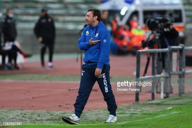 Giuseppe Raffaele coach of Catania during the Serie C match between Bari and Catania at Stadio San Nicola on October 26, 2020 in Bari, Italy.
