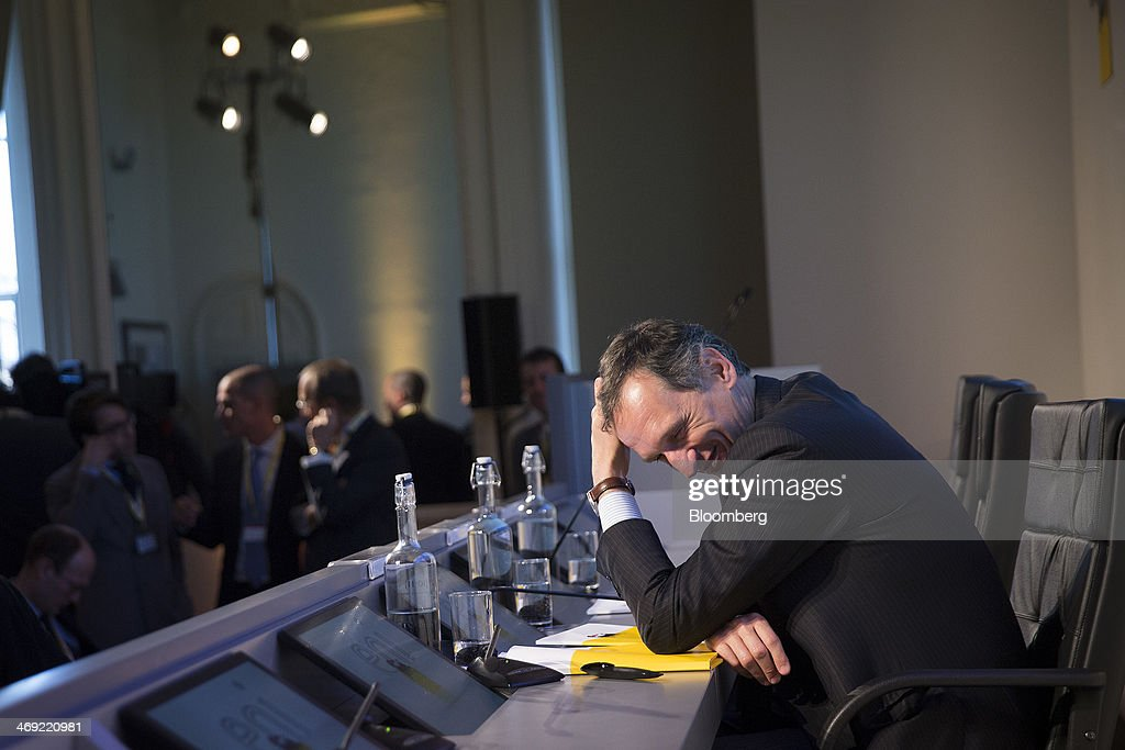 Giuseppe Recchi, chairman of Eni SpA, reacts during a news conference following the company's 2014-2017 strategy presentation in London, U.K., on Thursday, Feb. 13, 2014. Eni SpA, Italy's biggest oil company, said profit slumped 14 percent in the fourth quarter due to production halts in Libya and Nigeria and shrinking refining margins. Photographer: Simon Dawson/Bloomberg via Getty Images