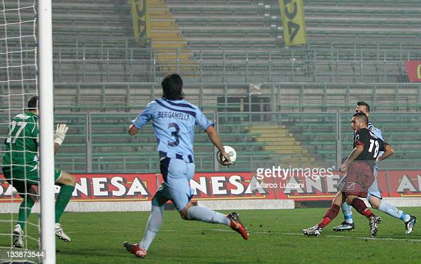 Giuseppe Rizzo of Reggina Calcio scores the goal during the Serie B match between UC AlbinoLeffe and Reggina Calcio on November 21 2011 in Bergamo...