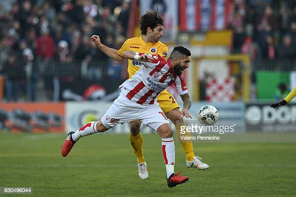 Giuseppe Rizzo of Vicenza Calcio clashes with Andrea Paolucci of AS Cittadella during the Serie B match between Vicenza Calcio and AS Cittadella at...