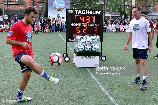 Giuseppe Rossi and Steve Nash compete in the TAG Heuer #DontCrackUnderPressure Challenge at the 9th Edition Steve Nash Foundation Showdown New York...