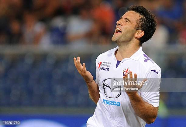 Giuseppe Rossi of ACF Fiorentina celebrates after scoring his team's second goal during the Serie A match between Genoa CFC and ACF Fiorentina at...