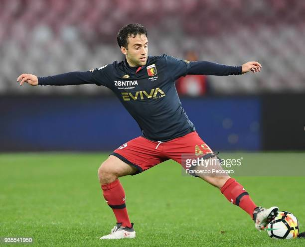 Giuseppe Rossi of Genoa CFC controls the ball during the serie A match between SSC Napoli v Genoa CFC at Stadio San Paolo on March 18 2018 in Naples...