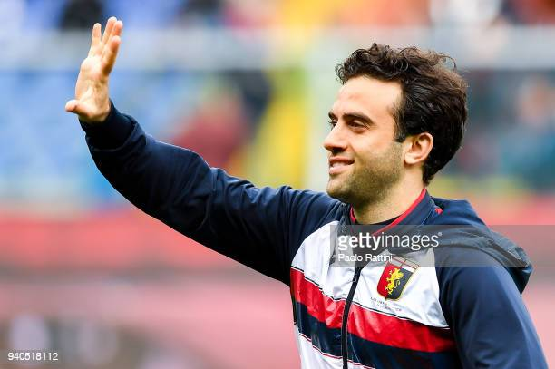 Giuseppe Rossi of Genoa greets the crowd before the serie A match between Genoa CFC and Spal at Stadio Luigi Ferraris on March 31 2018 in Genoa Italy
