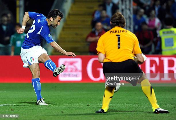 Giuseppe Rossi of Italy scores the opening goal during the UEFA EURO 2012 Group C qualifying match between Italy and Estonia on June 3 2011 in Modena...