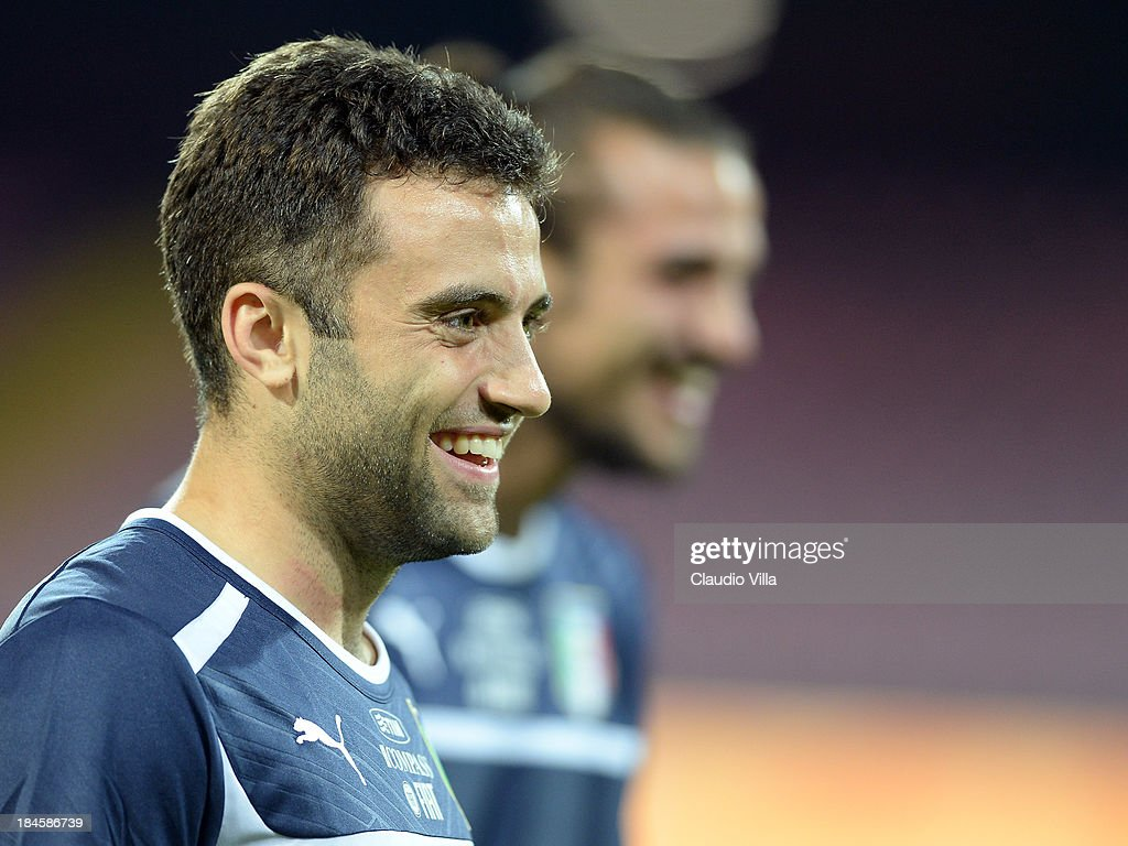 Giuseppe Rossi of Italy smiles during a training session on October 14, 2013 in Naples, Italy.